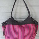 Large Cotton Tote Hobo Bag Fuchsia & Black Stripes by All Jazzed Up