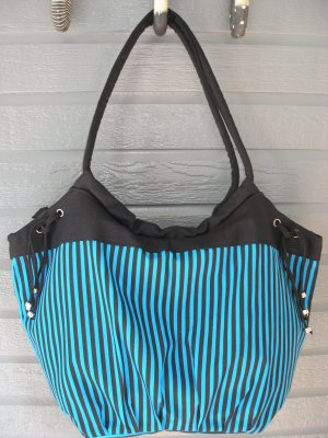Large Cotton Tote Hobo Bag Turquoise & Black Stripes by All Jazzed Up