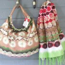 Hobo Bag Scarf Set Tie Dye Cotton Tote Beige Green Red by All Jazzed Up