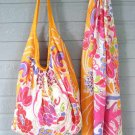 Colorful Orange Print Hobo Bag & Scarf Set Cotton Zip Close Tote