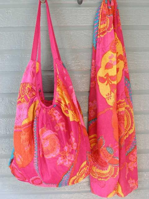 Colorful Cherry Print Hobo Bag & Scarf Set Cotton Zip Close Tote