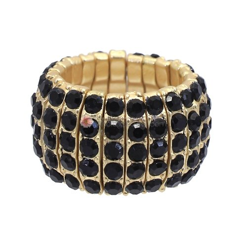Ring Black Rhinestones Stretch Style Gold Plated Adjustable