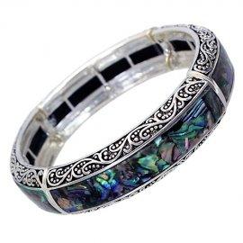 Stretch Bangle Bracelet Abalone Vintage Design Silver Plated Adjustable