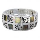 Black Mother of Pearl Stretch Bracelet Antique Silver Plate Squares