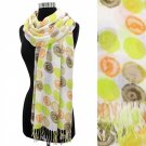 Scarf Natural Dots Lime Orange Beige Wrap Shawl Light Weight Fringe