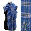 Scarf Blue Plaid Oversized Shawl with Fringe Acrylic Wrap