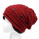 Red Beanie Hat Roomy Soft Button Decor Warm Knit Cap One Size