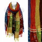 Scarf Long Wrap Shawl Multi Color Bold Stripes Fringe Dark Colors