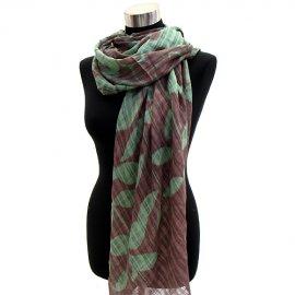 Scarf Tropical Leaves Cotton Shawl Wrap Tan Green Pareo Sarong