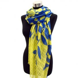 Scarf Tropical Leaves Cotton Shawl Wrap Yellow Blue Pareo Sarong