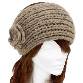 Beige Headband Wide Hand Knitted w/ Flower Soft Acrylic Hair Wrap