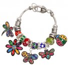 Charm Bracelet Colorful Garden Theme Beads Antique Silver Plate