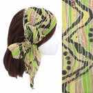 Headband Chiffon Scarf Head Wrap Sequins Light Green Multi Print
