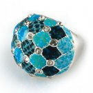 Viva Beads Ring Crystal Cocktail BLUE BROOK Silver Plate Stretch Style