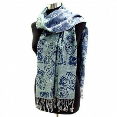 Scarf Pashmina Shawl Reversible Swirl Wrap Blue Shades