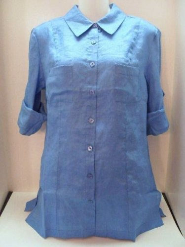 Coldwater Creek Textured Roll Sleeve Shirt Misses S (6-8) Blue Blouse
