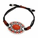 Shamballa Bracelet Aztec Design Red Orange Cabochon  Fashion Jewelry
