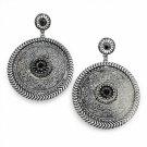 Earrings Black Stones Large Dangle Antique Silver Disks