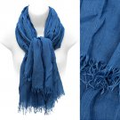 Scarf Blue All Cotton Frayed Edge Fringe Wrap Soft Shawl Fashion Accessory
