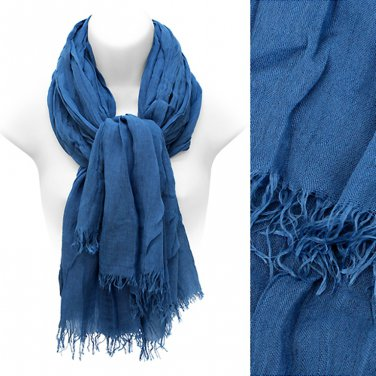 Scarf Blue All Cotton Frayed Edge Fringe Wrap Soft Shawl Fashion Accessory