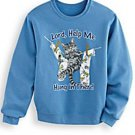 "Sweatshirt Cat Kitten ""Lord Help Me Hang In There"" Soft Blue Knit"