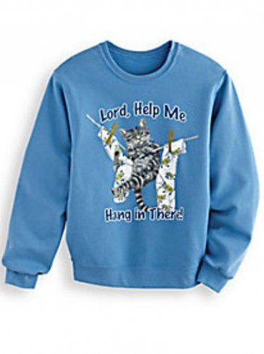 """Sweatshirt Cat Kitten """"Lord Help Me Hang In There"""" Soft Blue Knit"""