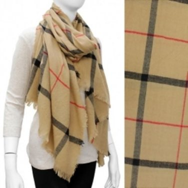 Scarf Shawl Wrap Plaid Pattern Beige Wide Frayed Edge Medium Weight Accessory
