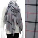 Scarf Shawl Wrap Plaid Pattern Gray Wide Frayed Edge Medium Weight Accessory