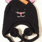 Cat Hat Ear Warmer Knit Cap Fleece Lined by Evelyn K Black Pink