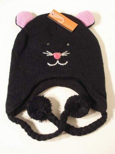 Cat Hat Ear Warmer Knit Cap Fleece Lined by Evelyn K Black Pink