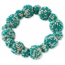 Blue Seed Beaded Bauble Stretch Bracelet from Coldwater Creek