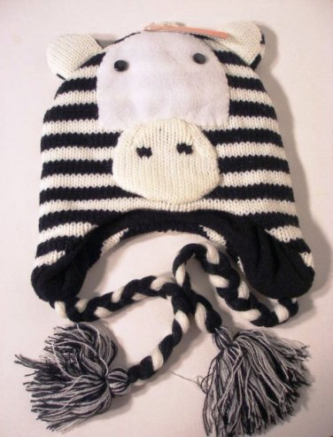 Zebra Hat Ear Warmer Knit Cap Fleece Lined by Evelyn K Black Pink