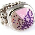 Viva Beads Cocktail Ring PLUM ORCHARD Stretch Style Silver Plate Handcrafted