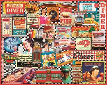 """White Mountain Puzzles Jigsaw Puzzle DINERS 1000 Piece NEW Sealed 24"""" x 30"""""""