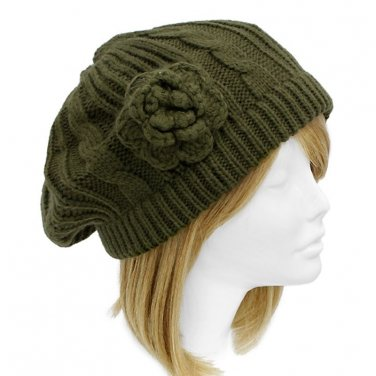 Olive Green Cable Knit Beret Crocheted Flower Soft Hat 1 Sz