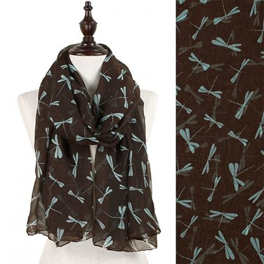 Dragonfly Pattern Scarf Brown w/ Turquoise Blue Dragonflies