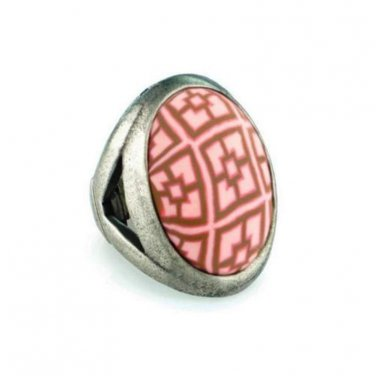 Jilzara Ring VINTAGE PINK Stretch Style Polymer Clay Antique Finish