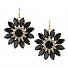 Flower Drop Earrings Black Stones Clear Crystals Vintage Deco Look