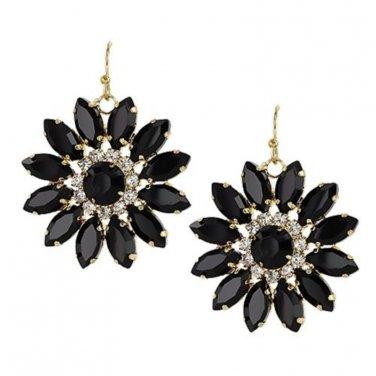 Flower Drop Earrings Black Stones Clear Crystals Vintage Deco Look