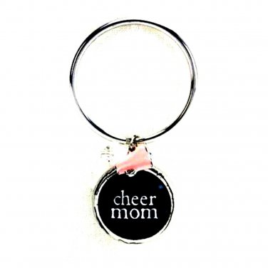 CHEER Mom Key Chain Glass Bubble Charm Beads Damask Emblem by Occasionally Made
