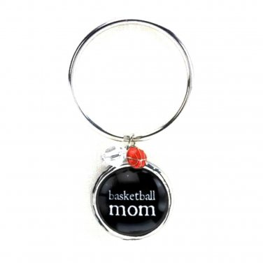Basketball Mom Keyring Silver Black Bubble Charm Beads Damask OCCASIONALLY MADE