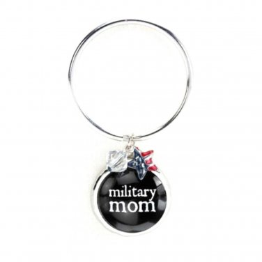 MILITARY Mom Key Chain Glass Bubble Charm Beads Damask Emblem by Occasionally Made