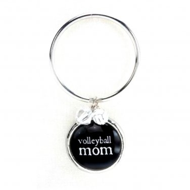 VOLLEYBALL Mom Key Chain Glass Bubble Charm Beads Damask Emblem by Occasionally Made