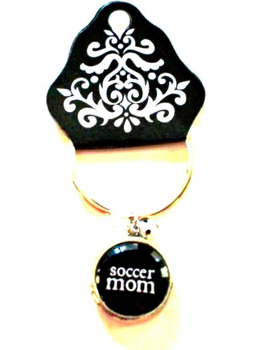 SOCCER Mom Key Chain Bubble Charm Damask Emblem by Occasionally Made