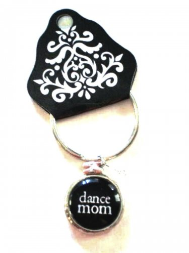 Dance Mom Key Chain Glass Bubble Charm Beads Damask Emblem by Occasionally Made