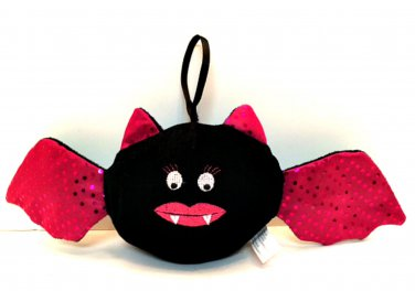 Fuzzy Plush Bat Pink Wings Ears Lips with Hanger 16 inches Wide