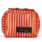 Cosmetic Bag Camera Case Purse Orange White Satin Jimeale New York