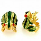 Frog Ring Crystal Accents Gold Plated Size 8 beachcats bargains