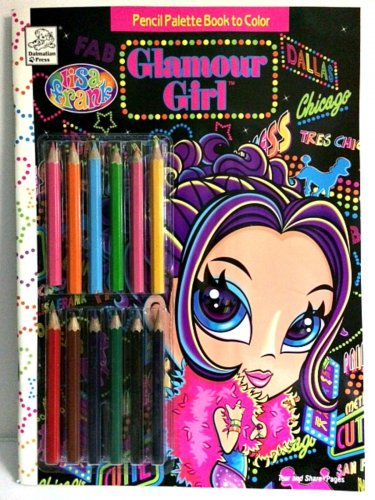 Lisa Frank Glamour Girl Pencil Palette Book Plus 12 Colored Pencils Retired