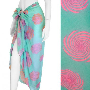 Sarong Cruise Swimwear Beach Cover-Up Aqua Fuchsia Swirl Pareo 1 Size